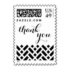 Basket Weave Pattern Thank You Postage Stamp in black and white