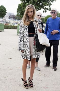 Paris street style: zebra print coat