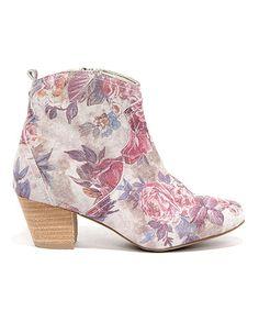 Love this Stone & Pink Petunias Leather Bootie on #zulily! #zulilyfinds