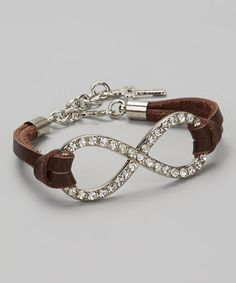 Another great find on #zulily! Silver & Brown Leather Infinity Bracelet #zulilyfinds