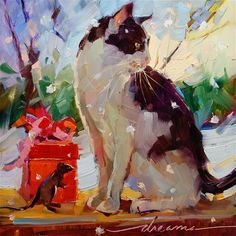 """""""Dreaming of.... a White Catmas? SOLD"""" - Original Fine Art for Sale - © Dreama Tolle Perry"""