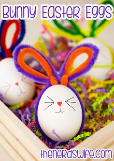 bunny easter eggs with pipe cleaners, easy no mess easter egg decorating