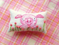 Little Pink Pig Hand Embroidered Pillow