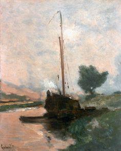 Paul Joseph Constantin 'Constan(t)' Gabriel (Amsterdam 1828-1903 Scheveningen) Afgemeerd vrachtschip - Kunsthandel Simonis en Buunk, Ede (Nederland).