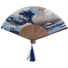 Japanese Handheld Folding Fan, with Traditional Japanese Ukiyo-e Art... ($5.20) ❤ liked on Polyvore featuring home and home decor