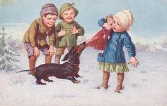 Vintage Dachshund postcard, 1910's onebay.com