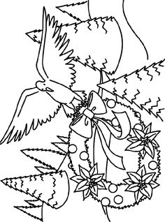 Dove Decorating The Tree Color Page Crayola