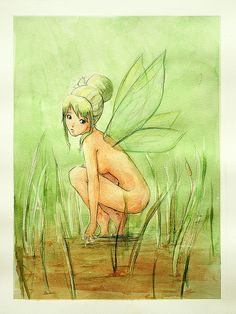 Green fairy by Eva M… Watercolor