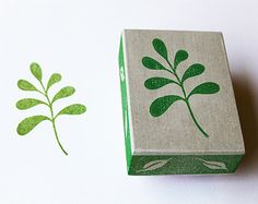 Ginkgo Leaf Stamp Hand Carved Rubber Stamp by GeekStamps on Etsy