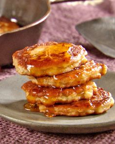Banana Fritters  Use ripe bananas like you would for bread or muffins.  A friend added blueberries, nutmeg and cinnamon.  YUM!