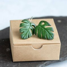 """904 Likes, 30 Comments - Iryna Osinchuk-Chajka (@eteniren) on Instagram: """"We have new Monstera leaf earrings) Link to our etsy shop in bio ☝☝☝ Price - 13.95$ #plants…"""""""