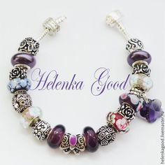 Купить Браслет Пандора Летний с бабочкой 222 - фиолетовый, пандора, пандора стиль, пандора бусины