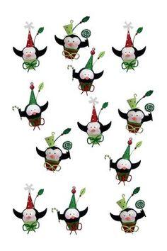 Tin Penguin Ornaments - 12-Piece Set