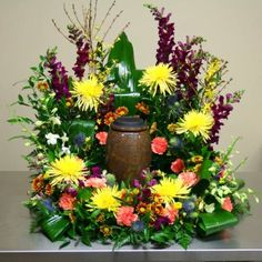 W Flowers product: Colorful Funeral Urn Flowers