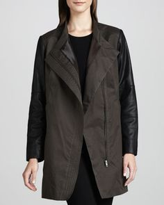 Water-Repellent Coat with Leather Sleeves by Bagatelle at Neiman Marcus.