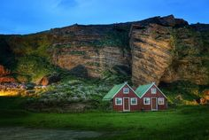 Farmhouse and roosting birds at dusk...Vik, Iceland -- Photo by Trey Ratcliff  #treyratcliff at www.StuckInCustom... - all images Creative Commons Noncommercial.