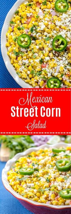 Mexican Street Corn Salad Recipe is deconstructed Elote or Mexican Street Corn, a popular Mexican street food, served in a bowl, instead of as corn on the cob, and covered with a fantastic chili lime cream sauce and cotija cheese. #CincoDeMayo #MexicanStreetCorn #SummerSalad #MexicanStreetCornSalad #MexicanFood #CornSalad
