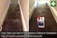 This client had contacted us for help renovating their Flagstone hallway floor as nothing they did was helping to keep them clean. The problem with the tiles was due to the pores of the flagstone being ingrained with dirt and once this happens they are really difficult to clean effectively. This is why we always recommend stones floors are sealed after cleaning.