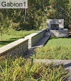 contemporary gabion boundary wall - Google Search