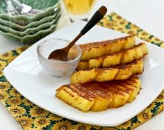 Simple and tasty Grilled Pineapple with cinnamon sugar, a delicious accompaniment to grilled and roasted meats. It is also great as a snack or dessert. This should go great with grilled pork chops Baked Ham With Pineapple, Grilled Pineapple Recipe, Roasted Pineapple, Grilled Fruit, Pineapple Recipes, Fruit Recipes, Dessert Recipes, Desserts, Dessert Food