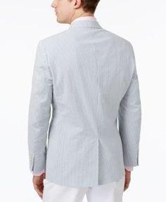 Lauren Ralph Lauren Men's Cotton Classic-Fit Ultra-Flex Seersucker Sport Coat - Blue 46R