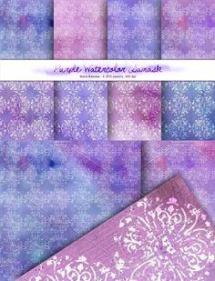 Purple Watercolor Damask Set. Patterns. $6.00 Damask Patterns, Eyeshadow, Watercolor, Purple, Paper, Pen And Wash, Eye Shadow, Watercolor Painting, Eye Shadows