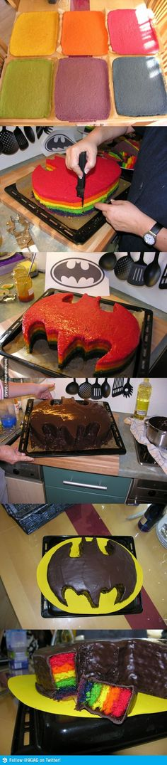 Batman, yea, sure, but this whole layered cake thing with the ganache glaze is OVER THE TOP!