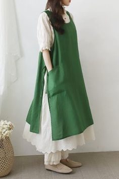 DRESS - 레아린넨 Linen Dresses, Cute Dresses, Casual Dresses, Hijab Fashion, Boho Fashion, Fashion Dresses, Sewing Aprons, Sewing Clothes, Clothing Patterns