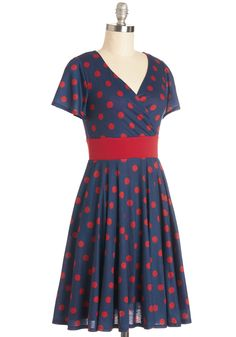 Feeling Footloose Dress in Navy. No matter where todays adventures may lead, this ModCloth-exclusive, polka-dotted dress will keep you moving in charming fashion! #blue #modcloth