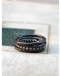 Silver Stacking Rings - Oxidized Silver - Set of 4