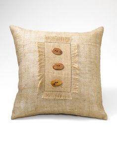 Burlap and Button Pillow