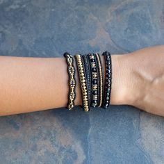 Chan Luu - Black Mix Sectioned Wrap Bracelet on Natural Black Leather, $170.00 (http://www.chanluu.com/wrap-bracelets/black-mix-sectioned-wrap-bracelet-on-natural-black-leather/)