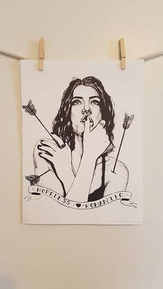 Hopeless Romantic - black and white handmade lithographic print on paper by EHollingsheadArtwork on Etsy  #art #artist #print #printmaking #printmaker #lithograph #lithography #hopelessromantic #arrow #shotthroughtheheart #graphic #illustration #drawing #emergingartist #contemporary #love #lovehurts #etsy #etsyseller #etsystore #etsyshop @etsy
