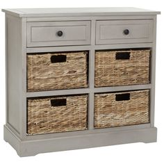 Keep clutter tucked away with this storage chest, offering stylish organisation for your hallway. Crafted from pine with a distressed black finish, it has two handy drawers and four ample wicker baskets that slide in and out for easy use.