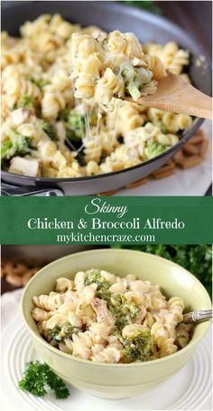 Skinny Chicken & Broccoli Alfredo ~ mykitchencraze.com ~ You can have your Alfredo pasta in a creamy healthier version!