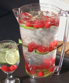 Fruity Water // layers of fruit and ice, top slowly with water --> such a gorgeous presentation for spring and summer parties #hydrate #healthy #foodstyling