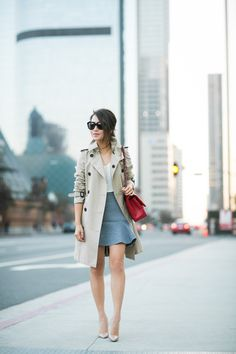 Simple Autumn :: Trench coat & Flute skirt