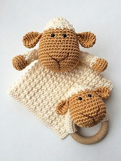 Sheep Lovey and Teether pattern by Monique van Beek Schäfchen Crochet Security Blanket, Crochet Lovey, Crochet Baby Toys, Lovey Blanket, Baby Blanket Crochet, Crochet For Kids, Diy Crochet, Crochet Dolls, Baby Knitting