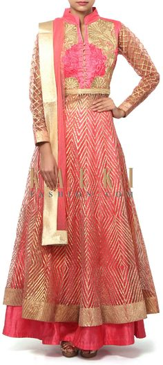 Buy Online from the link below. We ship worldwide (Free Shipping over US$100). Product SKU - 310904.Product Link - http://www.kalkifashion.com/pink-anarkali-suit-adorn-in-gotta-patti-and-zari-embroidery-only-on-kalki.html