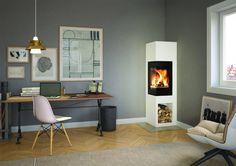 Poêle à bois à bûches Odense 5 kW - Nordpeis.Kbane,com Wood Burning Stove Corner, Corner Gas Fireplace, Fireplace Kits, Modern Fireplace, Living Room With Fireplace, Living Room Decor, Fireplaces, Odense, Inset Stoves