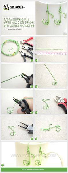 Tutorial on Making Wire Wrapped Music Note Earrings with Illustrated Instructions