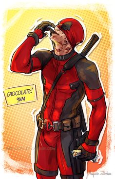 Wade enjoying an Easter egg Happy Easter! (Though we'll have it next weekend) Deadpool...