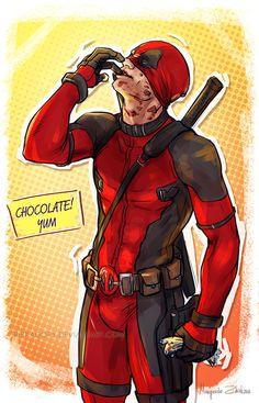 #Deadpool #Fan #Art. (Chocolate? YUM) By:RibkaDory. (THE * 3 * STÅR * ÅWARD OF: AW YEAH, IT'S MAJOR ÅWESOMENESS!!!™) [THANK U 4 PINNING!!!<·><]<©>ÅÅÅ+(OB4E)