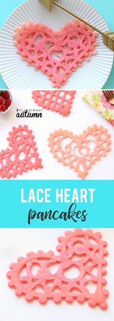 Lace heart shaped pancakes are a fun breakfast idea for Valentine's Day! Valentines recipe to make with kids.