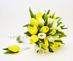 Ready to Ship - Real Touch Yellow White Tulips Bridal Bouquet Tulip Wedding Flower Real Touch Real Touch Tulips Yellow White Wedding Bouquet