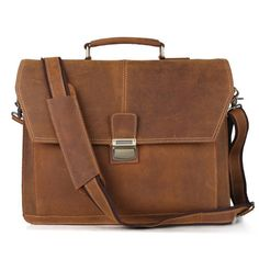 f3977b33fa Handcrafted 15   Leather Briefcase   Crossbody Messenger Bag   Men s Laptop  Shoulder Bag Vintage Retro Look in Dark Brown 7037 from Unihandmade Leather  ...