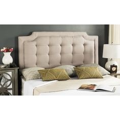 Shop for Safavieh Saphire Taupe Upholstered Tufted Headboard (Queen). Get free delivery at Overstock.com - Your Online Furniture Shop! Get 5% in rewards with Club O! - 18813972