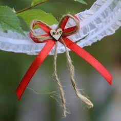 Svatební podvazek - červený- s iniciály, jménem,..