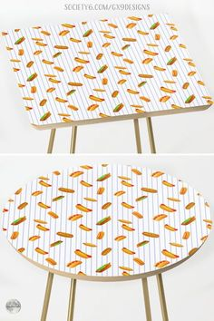 """* Side Table for the Kitchen * Hot Dog Pattern With Pinstripes Side Table by #Gravityx9 at Society6 * Measures Round or Square: 19"""" x 19"""" x 19"""" (H) * Baltic birch table top with beveled edge * This design is available on Tee Shirts, carry-all tote bags, drink coasters, serving trays, pillows, home decor and more. * home furnishings * #homedecor #furnishings #furnishings #table #sidetable #accenttable #cardtable #cornertable #endtable #hotdogs #playinwithfood #frankfurters #wieners 0721 Corner Table, Dog Pattern, Serving Trays, Food Themes, Table Cards, Baltic Birch, Drink Coasters, End Tables, Food Art"""