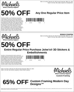 Pinned February 23rd: 50% off a single item & more at #Michaels #coupon via The Coupons App